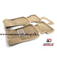 Текстильные 3D коврики Euromat в салон для AUDI A4 (2016-) № EM3D-001102T Бежевые